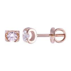 Золотые серьги-пусеты с бриллиантами 04-001