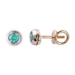 Золотые серьги-пусеты с бриллиантами 04-002