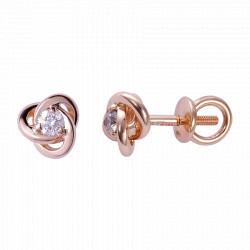 Золотые серьги-пусеты с бриллиантами 04-005