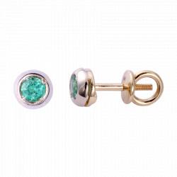 Золотые серьги-пусеты с бриллиантами 04-007