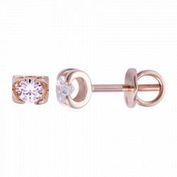 Золотые серьги-пусеты с бриллиантами 04-008