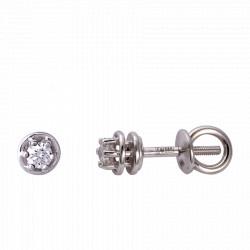 Золотые серьги-пусеты с бриллиантами 04-011