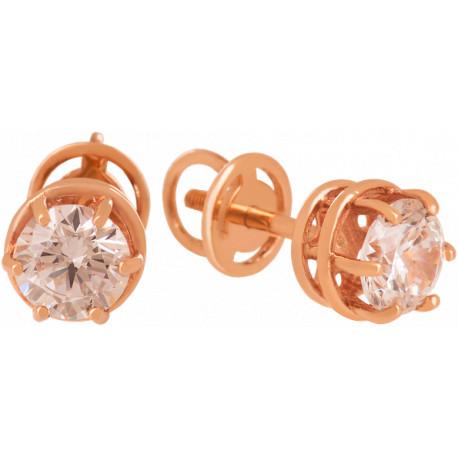 Золотые серьги-пусеты с бриллиантами 04-041