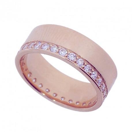 Кольцо обручальное с цирконом