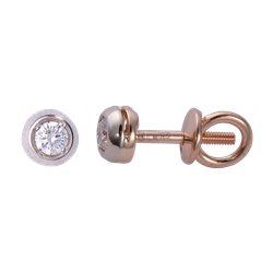Золотые серьги-пусеты с бриллиантами 04-003
